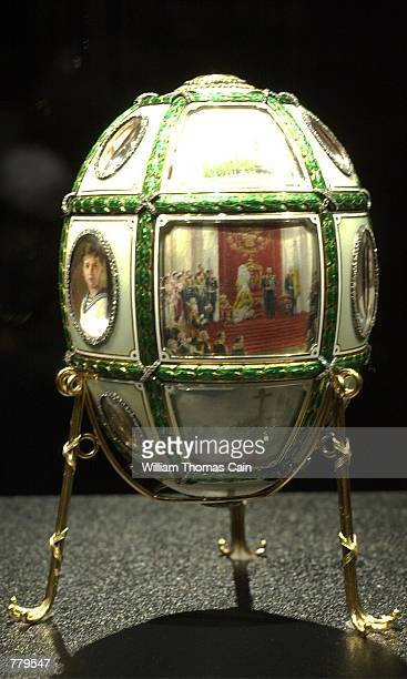 The Fifteenth Anniversary Imperial Easter Egg part of the Faberge Collection sits on display at the First USA Riverfront Arts Center September 14 in...