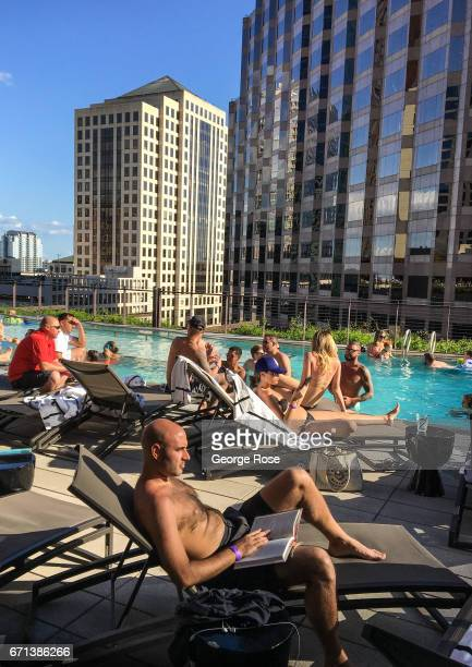 The fifth floor pool at the JW Marriott Hotel is viewed on April 14 in Austin Texas Austin the State Capital of Texas the state's second largest city...