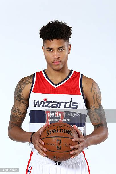 The fifthteenth selection in the 2015 NBA Draft Kelly Oubre of the Washington Wizards poses for portrats on June 26 2015 at the Verizon Center in...