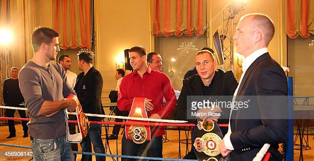 The fighters of Sauerland pose for a photo befor press conference at Hotel Adlon on October 9 2014 in Berlin Germany