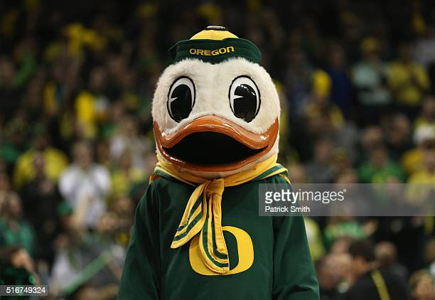 The Fighting Duck the Oregon Ducks mascot is seen in the first half against the Saint Joseph's Hawks during the second round of the 2016 NCAA Men's...