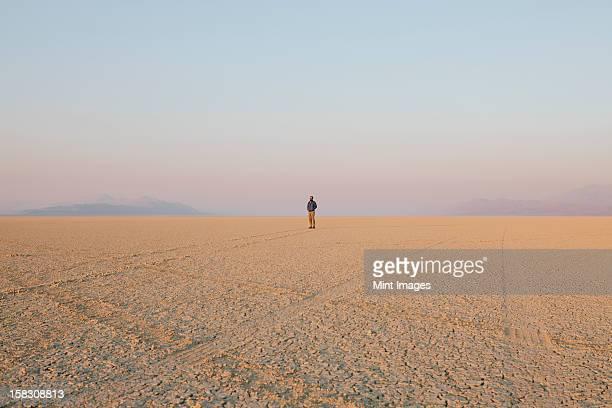 The figure of a man in the empty desert landscape of Black Rock desert, Nevada.