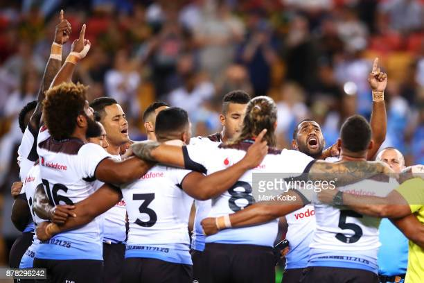 The Fiji team huddle sing as they prepare for the 2017 Rugby League World Cup Semi Final match between the Australian Kangaroos and Fiji at Suncorp...