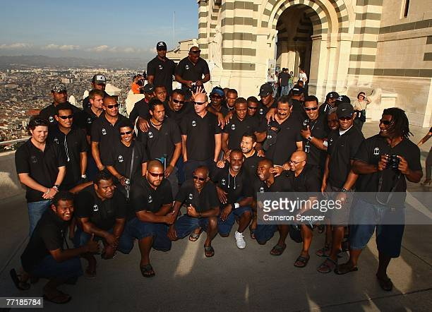 The Fiji team pose for a team photo at the Basilique NotreDame de la Garde on October 4 2007 in Marseille France