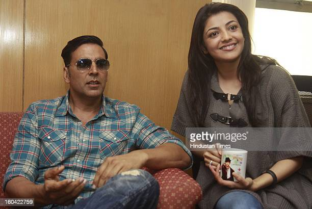 The film actors Akshay Kumar and Kajal Aggarwal during the visit to HT House for promotion of their upcoming film Special Chabbis on January 31 2013...