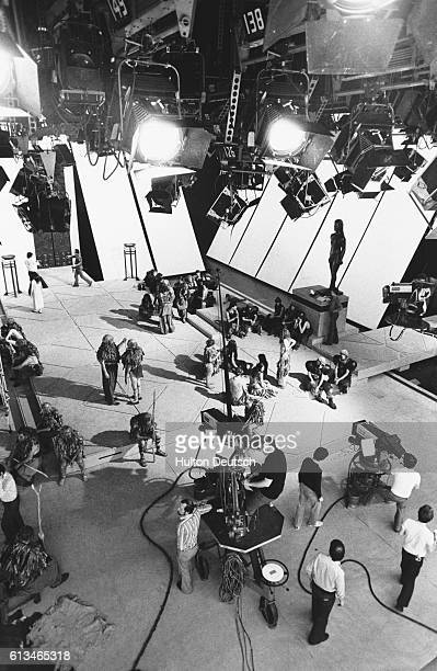 The filming of 'Agamemnon' in progress in Studio One at the British Broadcasting Corporation's London studios