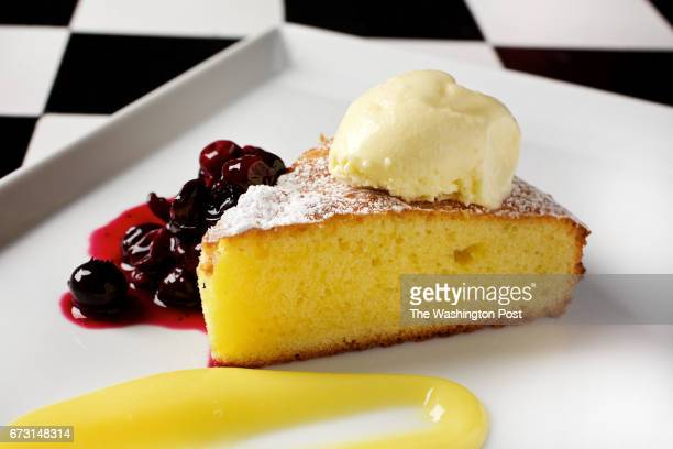 MCLEAN VIRGINIA The final course of Todd Hauptli's nine course dinner Olive Oil Cake with Blueberry Compote Lemon Curd and Olive Oil Ice Cream...
