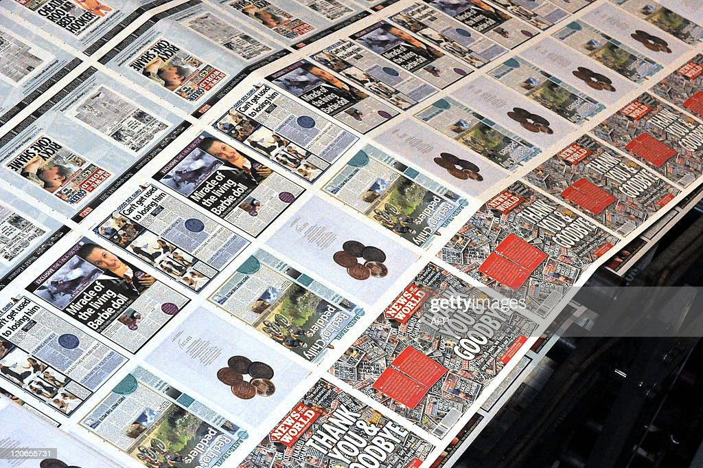 The final edition of the British tabloid newspaper News of the World rolls off the press on July 9, 2011 at the News International print works in Waltham Cross, Hertfordshire. Staff at the British tabloid expressed sadness on July 9 at the phone-hacking scandal that killed it off, but vowed to go out with a bang, doubling its print run to five million. The 168-year-old newspaper is expected to record its biggest sale for years as its historic final edition becomes a collector's item. Owner Rupert Murdoch pulled the plug on July 7 after a long-running scandal over phone hacking at the tabloid exploded into a national row with claims that murdered children and relatives of soldiers killed in combat were among those targeted.