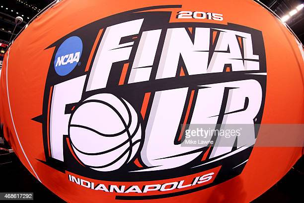 The Final Four logo is seen before the NCAA Men's Final Four Semifinals at Lucas Oil Stadium on April 4 2015 in Indianapolis Indiana