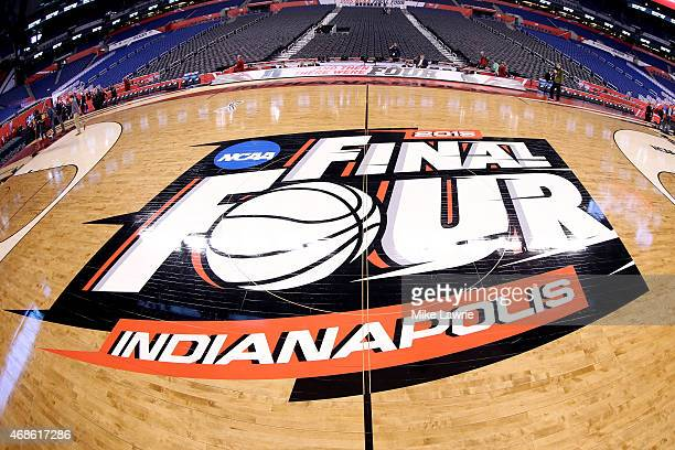 The Final Four logo is seen on the court before the NCAA Men's Final Four Semifinals at Lucas Oil Stadium on April 4 2015 in Indianapolis Indiana