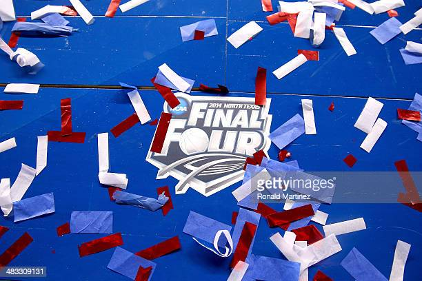 The Final Four logo is seen on the court following the NCAA Men's Final Four Championship between the Kentucky Wildcats and th Connecticut Huskies at...