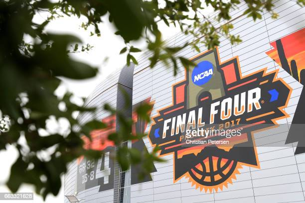 The Final Four logo is seen on the University of Phoenix Stadium before the 2017 NCAA Men's Final Four Semifinal at University of Phoenix Stadium on...
