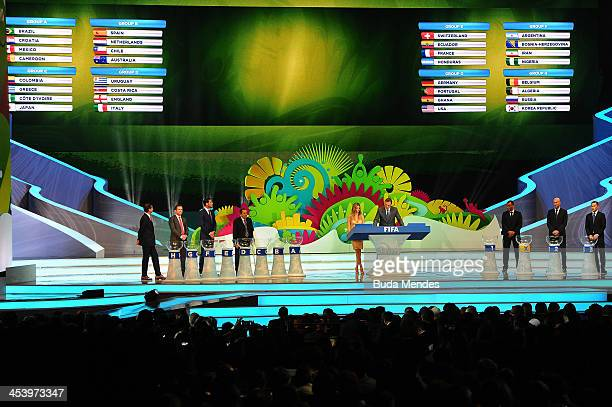 The final groups are displayed on the big screen during the Final Draw for the 2014 FIFA World Cup Brazil at Costa do Sauipe Resort on December 6...