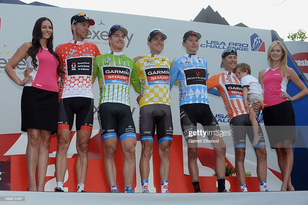 The final jersey winners <a gi-track='captionPersonalityLinkClicked' href=/galleries/search?phrase=Jens+Voigt&family=editorial&specificpeople=224836 ng-click='$event.stopPropagation()'>Jens Voigt</a> of Germany riding for Radioshack-Nissan in the king of the mountains red jersey, <a gi-track='captionPersonalityLinkClicked' href=/galleries/search?phrase=Tyler+Farrar&family=editorial&specificpeople=705251 ng-click='$event.stopPropagation()'>Tyler Farrar</a> riding for Garmin-Sharp in the points leader's green jersey, Christain Vande Velde riding for Garmin-Sharp in the overall race leader's yellow jersey, Joe Dombrowski riding for Bontrager-Livestrong in the best young rider's blue jersey and <a gi-track='captionPersonalityLinkClicked' href=/galleries/search?phrase=Tom+Danielson&family=editorial&specificpeople=224809 ng-click='$event.stopPropagation()'>Tom Danielson</a> riding for Garmin-Sharp in the most aggressive riders jersey take the podium following stage seven of the USA Pro Challenge on August 26, 2012 in Denver, Colorado.