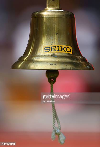 The final lap bell is seen during day two of the 15th IAAF World Athletics Championships Beijing 2015 at Beijing National Stadium on August 23 2015...