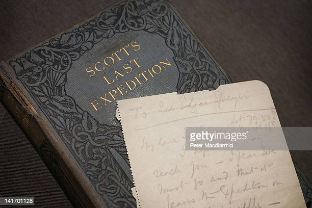 The final letter written by Captain Robert Falcon Scott before his death is displayed on a book entitled 'Scott's Last Expedition' at Bonhams...