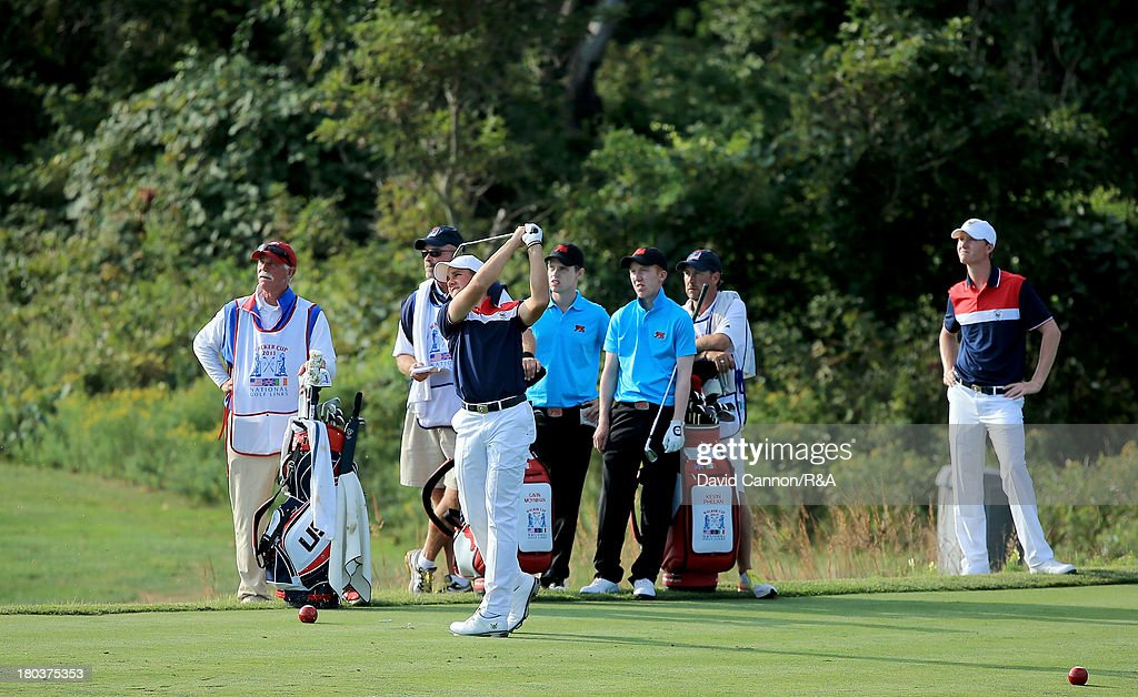 The final match of Gavin Moynihan and Kevin Phelan of Ireland and the GB&I team and Patrick Rodgers and Jordan Niebrugge of the USA team on the fourth tee during the final day morning foursomes matches of the 2013 Walker Cup Match at The National Golf Links of America on September 8, 2013 in Southampton, New York.