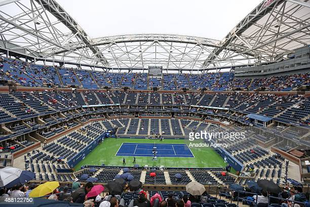 The final match of Novak Djokovic and Roger Federer is delayed due to rain ahead of men's singles final of the 2015 US Open at the Arthur Ashe...