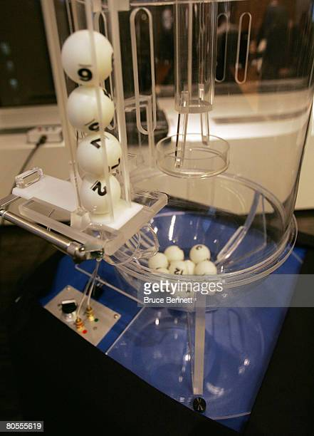 The final order of balls '2756' rest in the lottery machine during the 2008 NHL Draft Drawing on April 7 2008 at the National Hockey League...