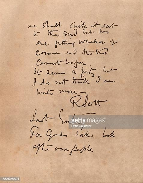 The final page of Captain Scott`s diary 1912 From The Royal Jubilee Book 19101935 [Associated Newspapers Ltd London 1935]