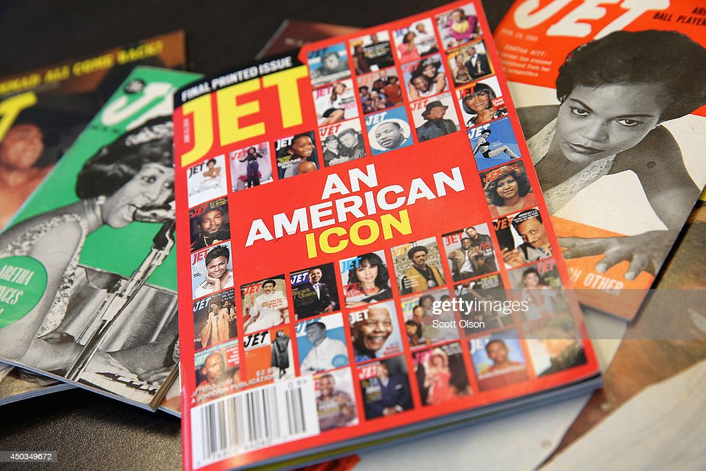 The final print edition of JET magazine with a cover declaring it 'An American Icon' is displayed with vintage copies of the magazine at the offices...