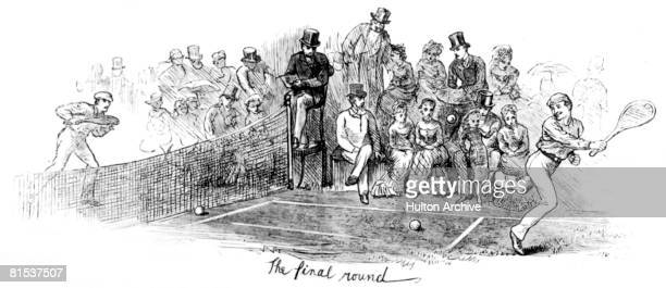 The final round of a tennis match at Wimbledon 1879 An engraving by Swain