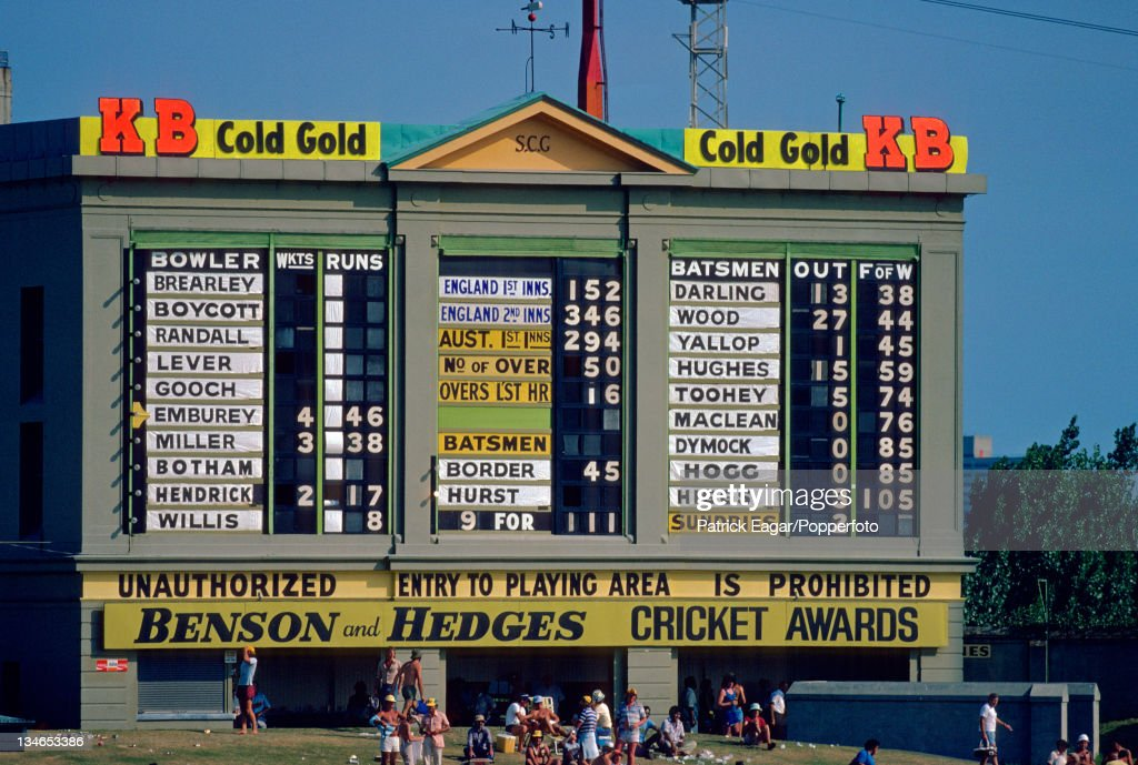 The final score as shown on the old traditional scoreboard at the Sydney Cricket Gorund Australia v England 4th Test Sydney January 197879