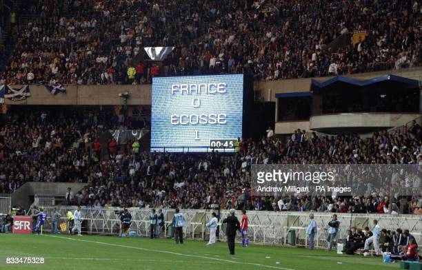 The final score is displayed following the UEFA European Championship Qualifying match at at Park des Princes Paris Picture date Wednesday September...