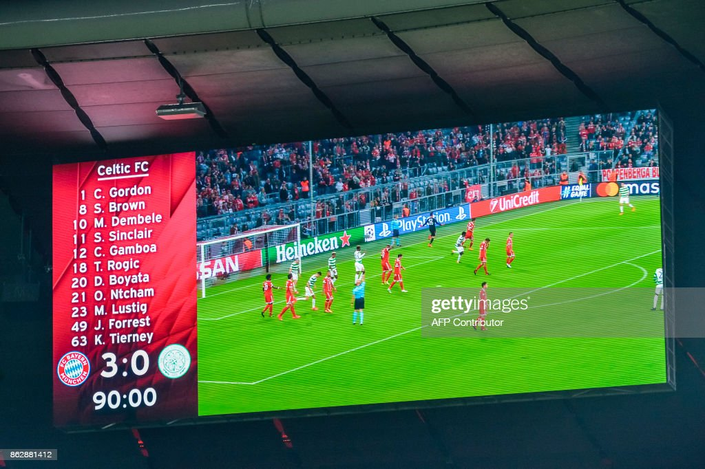 The final score is seen on the display board during the Champions League group B match between FC Bayern Munich and Celtic Glasgow in Munich, southern Germany, on October 18, 2017. /