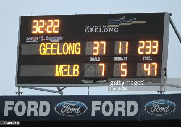 The final score shows the Cats winning by 186 points during the round 19 AFL match between the Geelong Cats and the Melbourne Demons at Skilled...