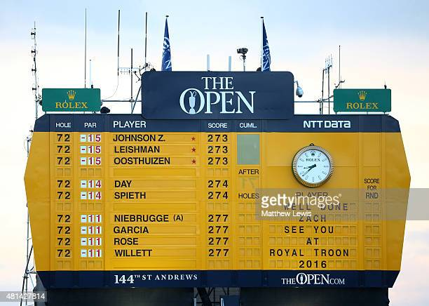 The final scoreboard after the final round of the 144th Open Championship at The Old Course on July 20 2015 in St Andrews Scotland