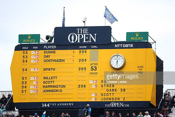 The final scoreboard after the third round of the 144th Open Championship at The Old Course on July 19 2015 in St Andrews Scotland