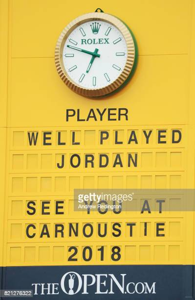 The final scoreboard congratulates Jordan Spieth of the United States on his victory during the final round of the 146th Open Championship at Royal...