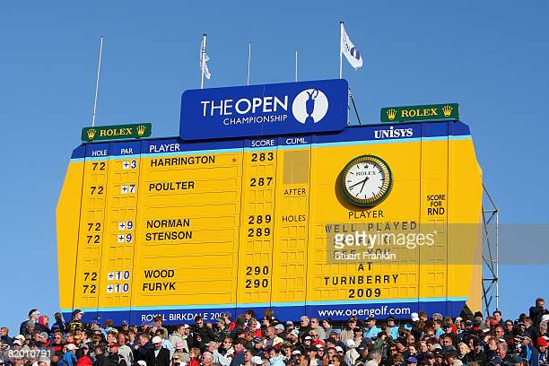 The final scoreboard congratulates Padraig Harrington on his victory during the final round of the 137th Open Championship on July 20 2008 at Royal...
