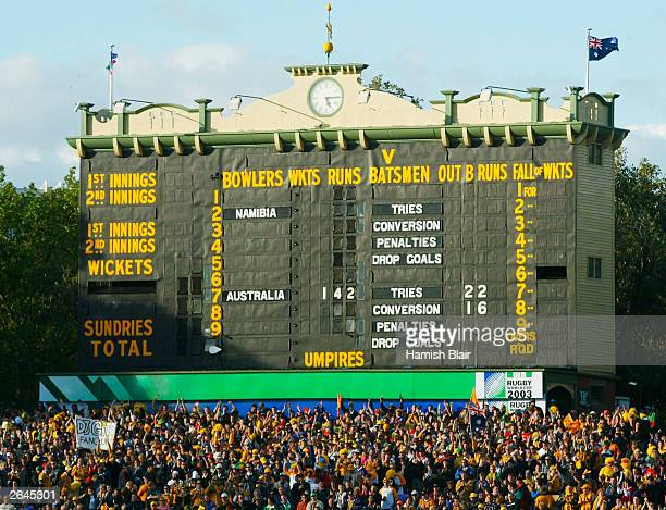 The Final Scoreboard showing Australia 142 to Namibia 0 during the Rugby World Cup Pool A match between Australia and Namibia at Adelaide Oval...