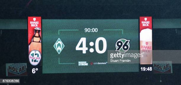 The final scoreboard shows Bremens first home win the season with 4 0 at the end of the Bundesliga match between SV Werder Bremen and Hannover 96 at...