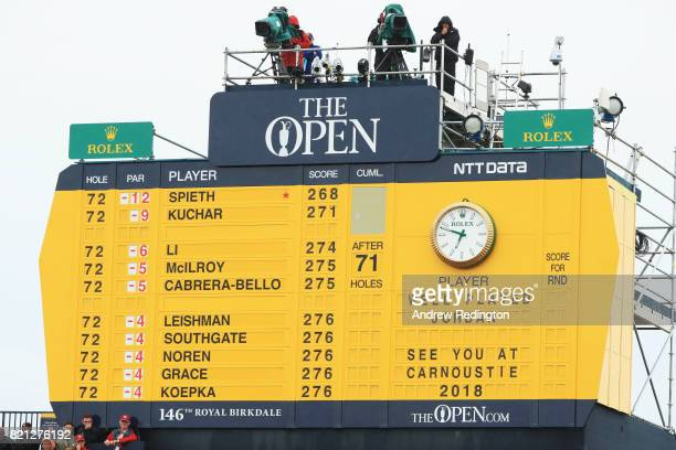 The final scoreboard shows the results during the final round of the 146th Open Championship at Royal Birkdale on July 23 2017 in Southport England