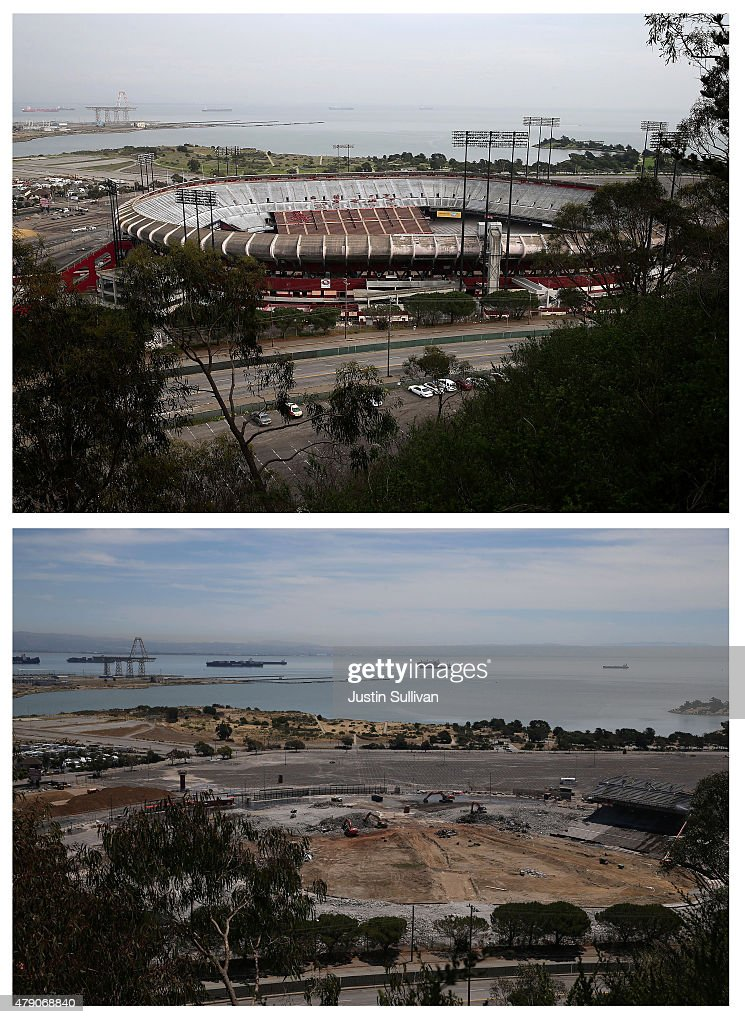 In this beforeandafter composite image A general view of Candlestick Park on February 4 2015 in San Francisco California SAN FRANCISCO CA JUNE 30 The...