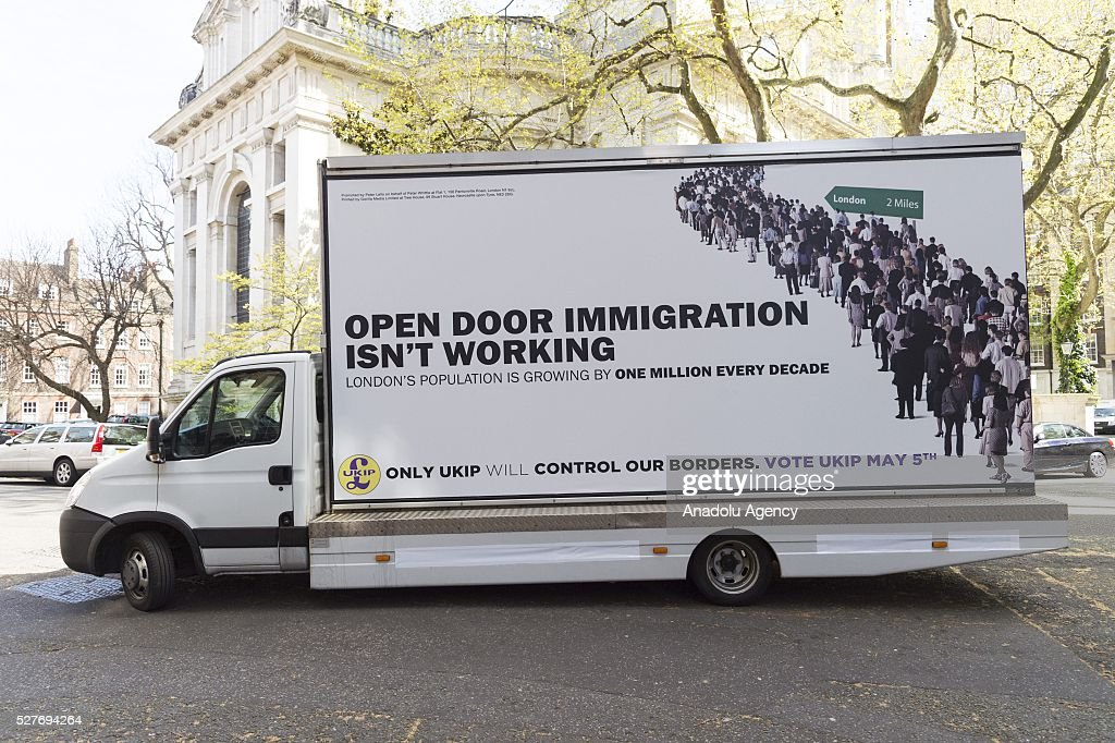 The final UKIP party election Campaign poster for London Elections focussing on immigration is seen in London, United Kingdom on May 03, 2016.