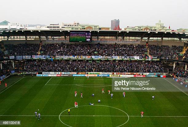 The final whistle is blown during the match between IFK Goteborg and Kalmar FF at Gamla Ullevi on October 31 2015 in Gothenburg Sweden