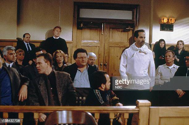 SEINFELD 'The Finale Part 1 2' Episode 23/24 Pictured John O'Hurley as J Peterman Steve Hytner as Kenny Bania Grace Zabriskie as Mrs RossvS Wayne...