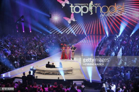 The finalists Sara Marie and Mandy of the TV show 'Germany's next Topmodel' stand in front of the jury in the western German city of Cologne on May...