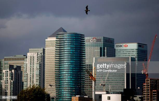The financial offices of banks including JPMorgan Chase Citi HSBC and other institutions in the financial district of Canary Wharf are pictured from...