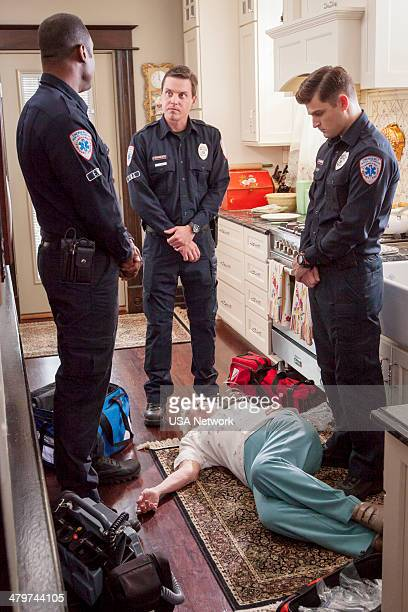 SIRENS 'The Finger' Episode 105 Pictured Kevin Daniels as Hank St Clare Michael Mosley as Johnny Farrell Kevin Bigley as Brian Czyk