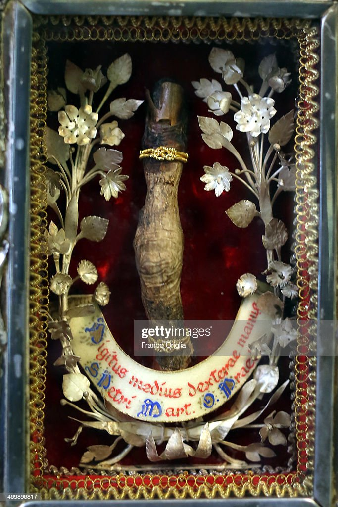The finger of St Peter of Verona (1205-1252) is seen at the cloistered convent of St. Mary of the Rosary on February 6, 2014 in Vatican City, Vatican. The Dominican Nuns of St. Mary of the Rosary monastery supervise relics since the papacy of Pius IX (1860ca). Relics may be legitimately obtained from Church sources, the Vicariate in Rome, the religious Order of the Saint involved and the shrine of the Saint involved. When this is done, a donation is usually expected to cover the cost of the metal container (theca) that contains the relic, but in any case, a profit cannot legitimately be made from the sale of relics by anyone.