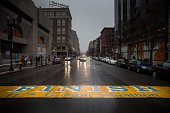 The finish line of the Boston Marathon is seen near the site of the first bomb that went off in the Boston Marathon bombing of 2013 on January 4 2015...