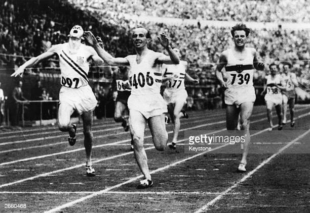 The finish of the 1500m final at the 1952 Helsinki Olympics won by Josy Barthel of Luxembourg with Robert McMillen of the USA in second and Werner...