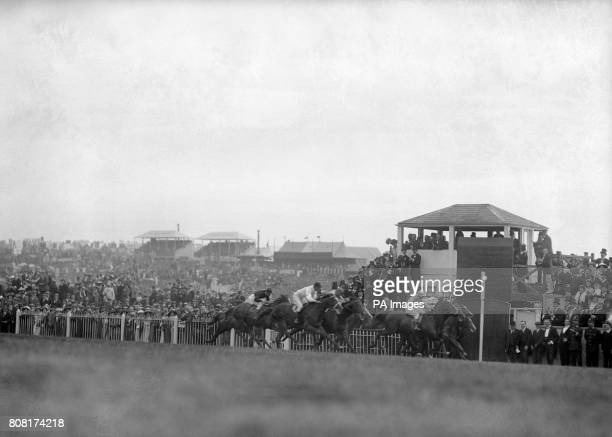 The finish of the 1913 Epsom Derby won by Aboyeur The first past the post Craganour was disqualified and the King's runner Anmer was brought down at...