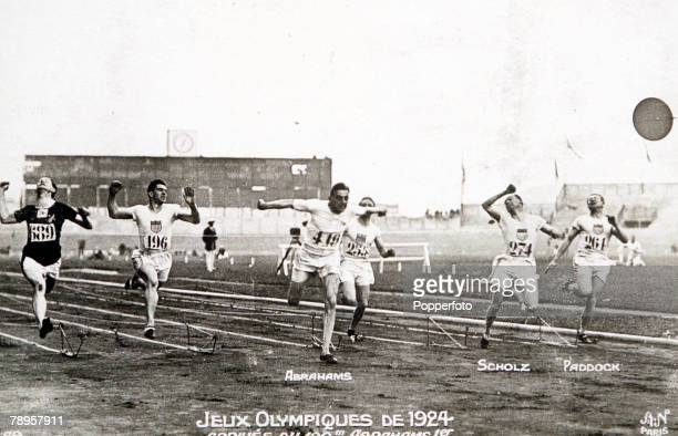 The finish of the final of the Men's 100 Metres at the 1924 Olympic Games Paris 7th July 1924 Harold Abrahams of Great Britain's breaks the tape to...