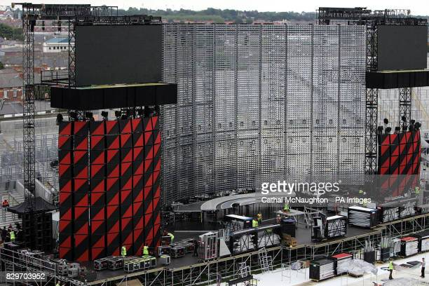 The finishing touches are made to the stage ahead of Irish U2's three night run The Irish leg of the Vertigo tour which sold out within hours will be...